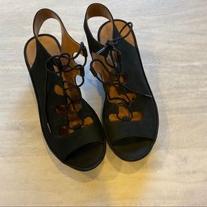 Clarks Clarence grace black wedges sandals 8 NEW
